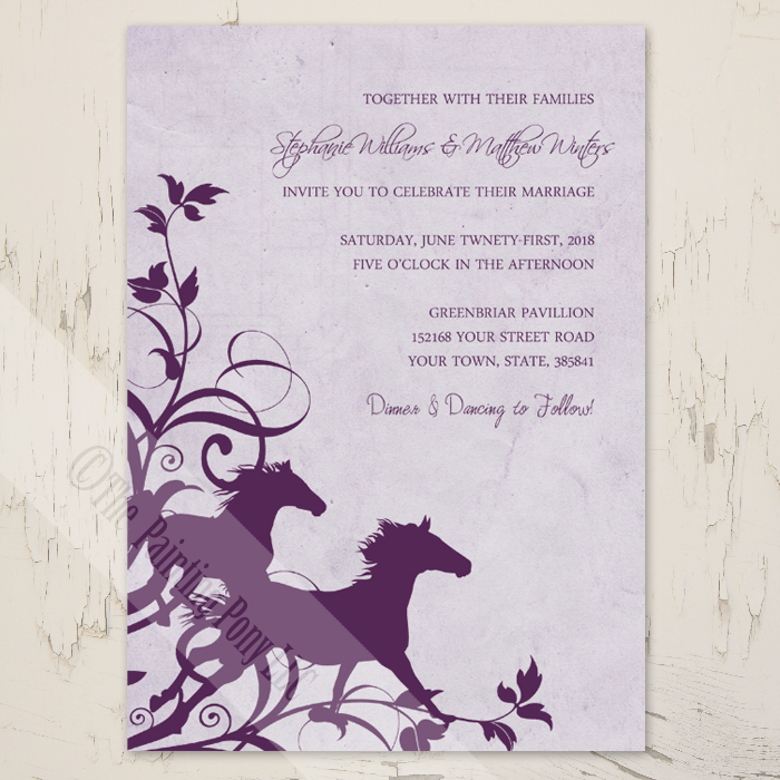 Purple wild horses equestrian wedding invitations