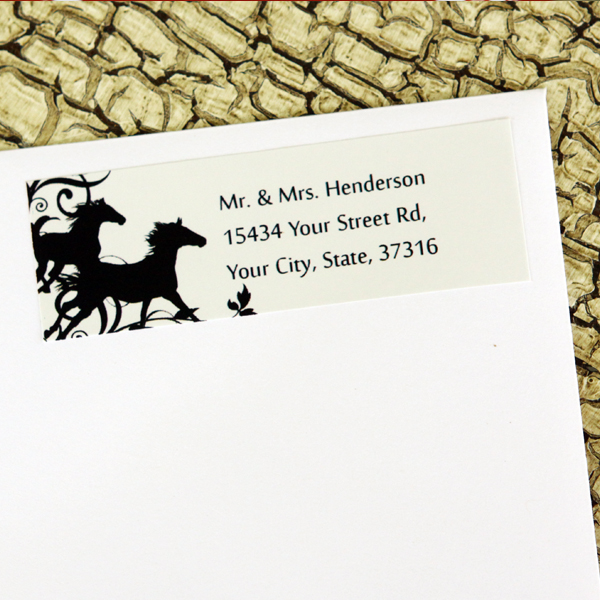 wild horses equestrian wedding return address labels