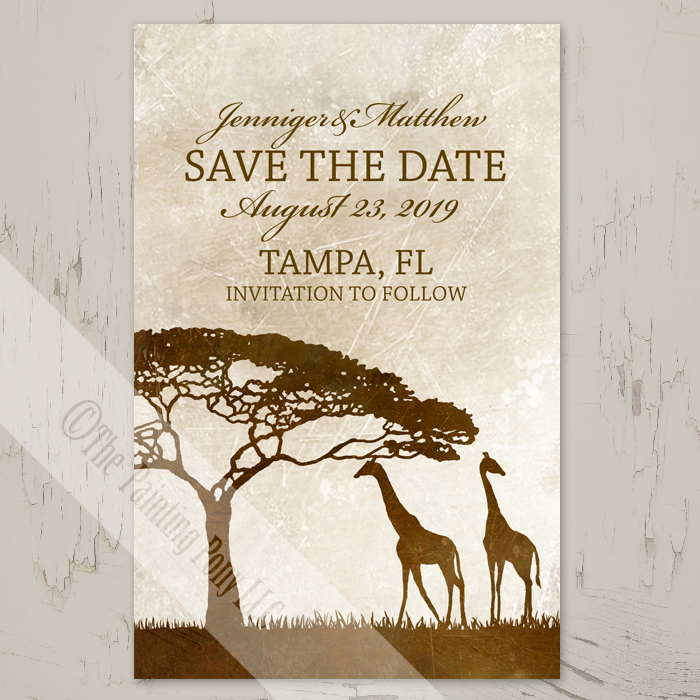 African Giraffes Wedding Invitation (10 pk) - The Painting Pony
