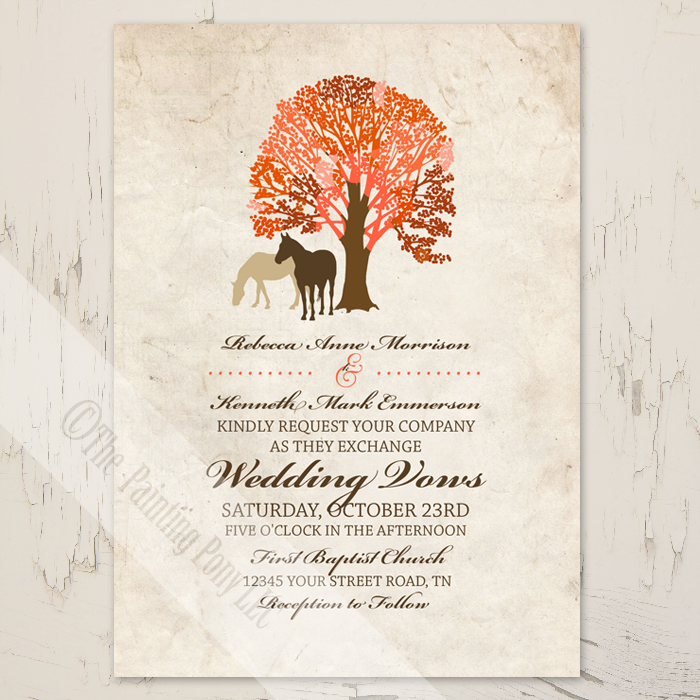 equestrian wedding invitations for fall events with two brown horses.